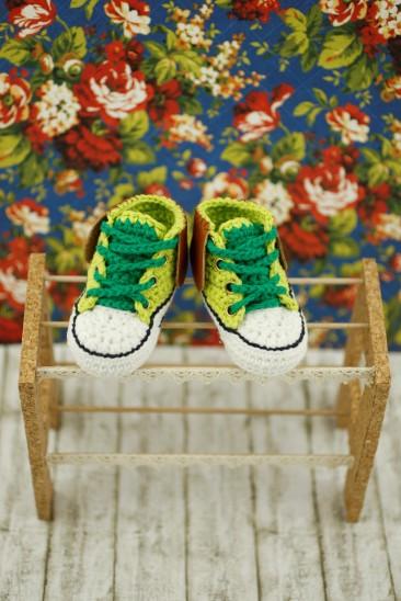 Green Crochet Baby Sneakers